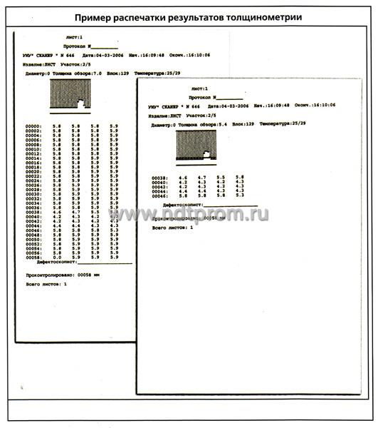 Пример распечатки результатов толщинометрии дефектоскопа СКАНЕР+